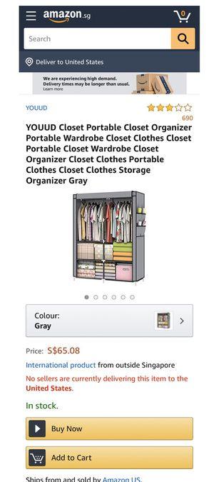 YOUUD Closet Portable Closet Organizer Portable Wardrobe for Sale in Temple City, CA