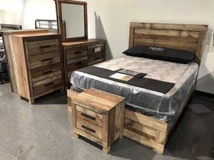 Rustic wood finish bedroom set for Sale in West Columbia, SC