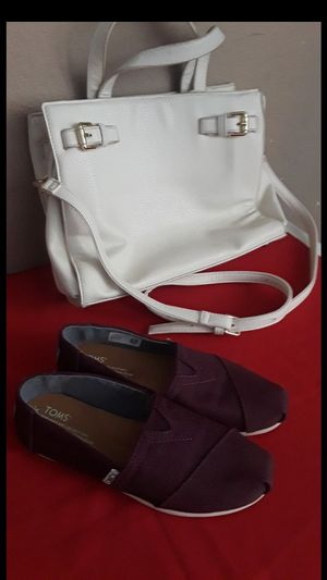 Charming charlie purse and Tom's shoes size 6 both for $25 for Sale in Stockton, CA