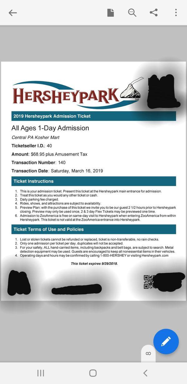 Hersheypark tickets