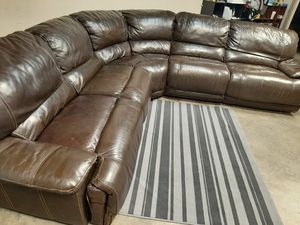 Gorgeous real leather electric sectional couch for Sale in Renton, WA