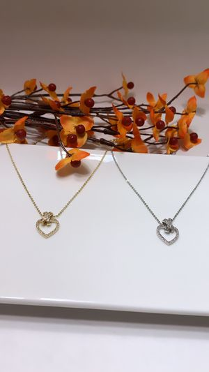**NO FADE** Real Gold Plated Rhinestone Heart Pendant Necklace, Gold and Silver Color for Sale in Los Angeles, CA
