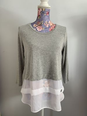 NWT Michael Kors Scoop Neck Pearl Heather Grey Layered Look Top Shirt- Size S for Sale in Falls Church, VA