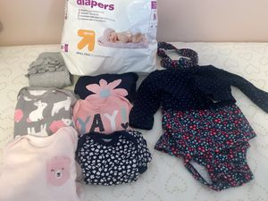 Newborn Baby Lot with Bonus Diapers for Sale in Cleveland Heights, OH