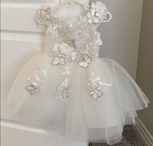 New Flower girl wedding event toddler kids butterfly white dress holiday zipper for Sale in Arcadia, CA