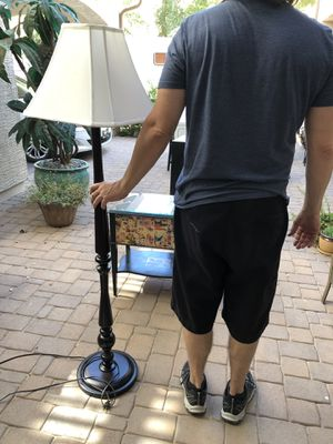 "61"" Tall floor lamp with shade. Dark wool grain. for Sale in Gilbert, AZ"