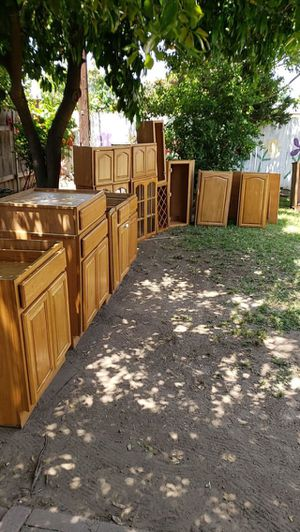 Like new Wood 18+ kitchen cabinets all must go together for Sale in Chino Hills, CA