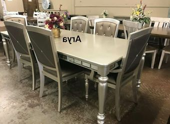 💲39 Down Payment🆕️ Orsina Silver Mirrored Extendable Dining Set byHomelegance G456👆IN STOCK👆 for Sale in Alexandria,  VA