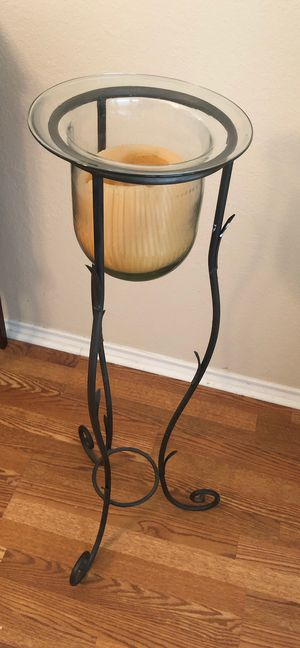 Wrought iron candle stand with glass candle holder for Sale in Plano, TX