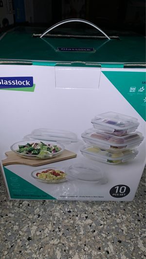 Glasslock 10 piece food storage containers leak proof and air tight for Sale in Chula Vista, CA