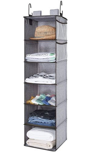 Hanging Closet Organizer, 2 Ways Dorm Closet Organizers and Storage with Thickened Board, Gray, 6 Shelves, 12x12x42 inches for Sale in Plainfield, NJ