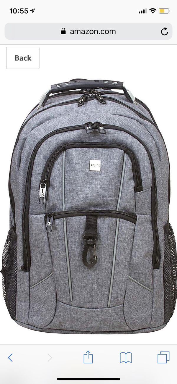 """Dejuno Commuter BackPack (Cool Grey) with 15.6"""" laptop pocket"""