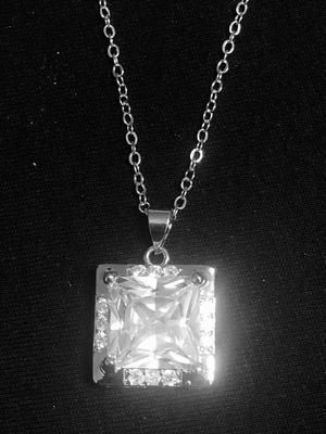 Sterling Silver necklace / CZ big square pendant. for Sale in Las Vegas, NV
