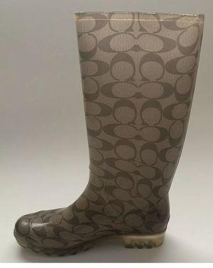 """Coach Signature """"C"""" Pixy Women's Tan Rubber Rain Boots - Size 6 for Sale in Corona, CA"""