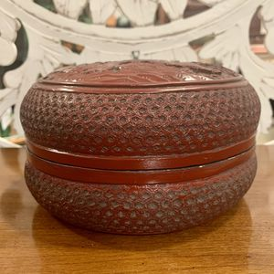 Faux Cinnabar Box with Tree and Two Figures Motif for Sale in Forney, TX