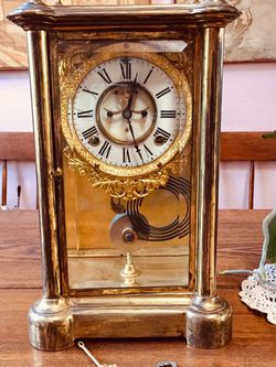 Antique Ansonia Brass & beveled Glass Mantle Clock for Sale in Boring,  OR