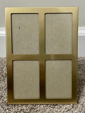 Vintage Gold Metal Tabletop 4 Retangular Small Opening Pictures Collage in 1 Photo Frame Home Decoration Accent for Sale in Chapel Hill, NC