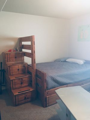 2 layer solid Bunk Bed queen size included mattress still brand new drawers on the bottom for Sale in Colorado Springs, CO