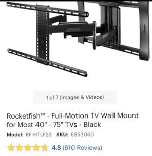 "Rocketfish™ - Full-Motion TV Wall Mount for Most 40"" - 75"" TVs - Black for Sale in Tulare, CA"