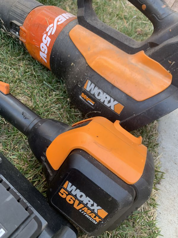 "Worx 56V Blower and 13"" String trimmer + 2 batteries and chargers"