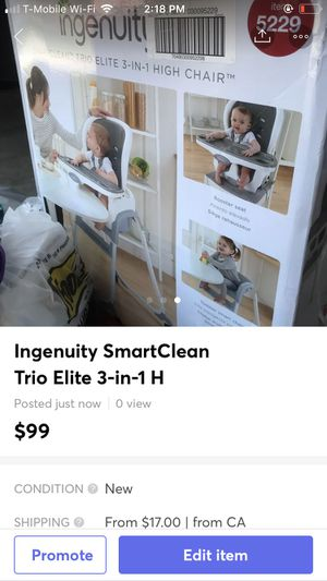Ingenuity SmartClean Trio Elite 3-in-1 High Chair for Sale in Fresno, CA