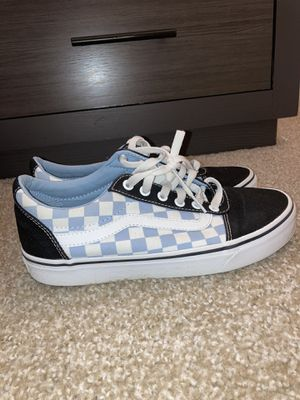 Blue,black,and white women's checkered vans for Sale in Austell, GA