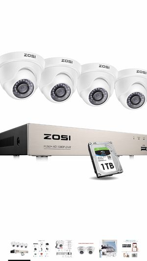 Security Cameras System with 1TB Hard Drive,H.265+ 5MP Lite 8Channel HD-TVI DVR Recorder and 4pcs 1080P HD 1920TVL Indoor Outdoor Surveillance CCTV D for Sale in Biscayne Park, FL