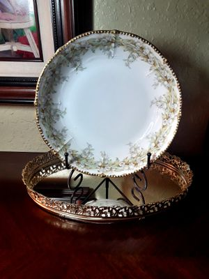 White s Elite Limoges of France Large Serving Bowl & Metal Stand for Sale in Alamogordo, NM