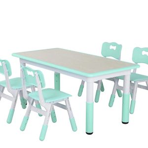 LAZY BUDDY Kids Study Table and Chairs Set, Height Adjustable Plastic Children Art Desk with 4 Seats, Activity Toddler Furniture Gift for Boys & Girls for Sale in Rosemead, CA