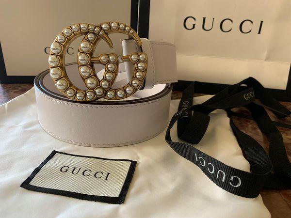 Women's gg dble g pearls white belt