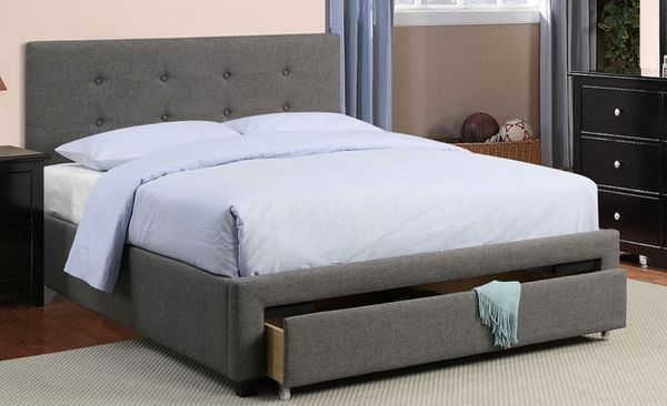 Brand New Queen Size Grey Upholstered Platform Bed Frame w/Storage Drawer