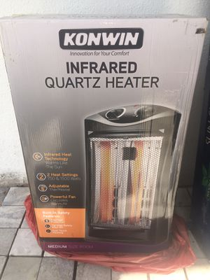 Konwin Infrared Electric Quartz Heater 750/1500 Watts Space Heating Radiant Fire Tower Black New in sealed box for Sale in Largo, FL