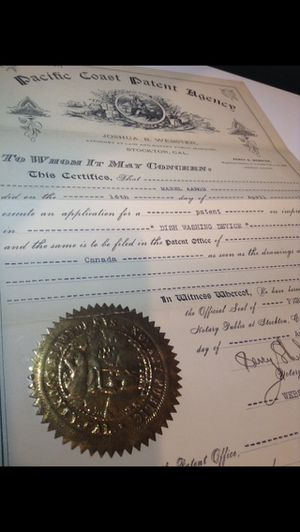 """RARE 1915 Authentic Dishwashing Patent For a """"Dish Washing Device""""- Pacific Coast Patent Agency- Signed & Gold Sealed- Scarce Antique Item! for Sale in Fairfax, VA"""
