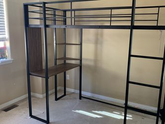 Black Twin Metal Loft Bed Frame (sold - pending Pickup) for Sale in Evergreen,  CO