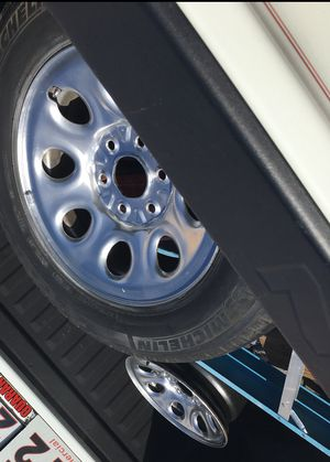 Two Chevy Silverado rims tires come with that one tire asking 50$ for Sale in Fort Worth, TX