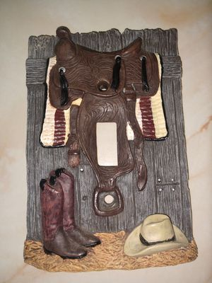 Light switch plate 3D Western saddle on barn door for Sale in North Port, FL