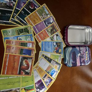 25 Pokémon Cards W/collectable Tin for Sale in Raynham, MA