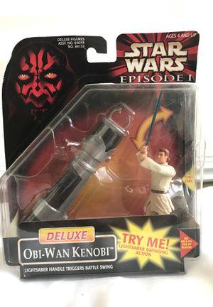 New in box - Star Wars Episode 1 - Obi-Wan Kenobi Action Figure w/ lightsaber handle for Sale in Ontario, CA