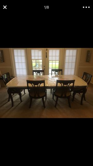 8 chair table with leaf for Sale in Houston, TX
