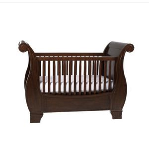 Pottery Barn Kids Larkin fixed gate sleigh baby crib with toddler conversion kit and mattress. Good condition. Offers welcome. for Sale in Tomball, TX