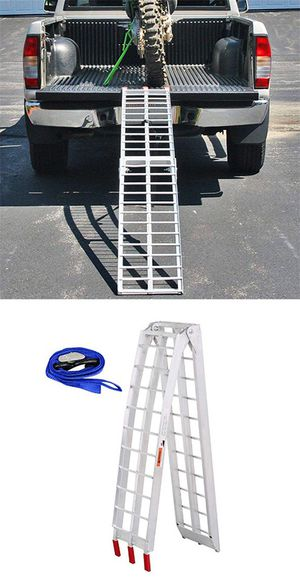 New in box $60 Single 7.5ft Aluminum Motorcycle Folding Loading Ramp Street Dirt Bike 750Lbs Rated for Sale in Montebello, CA