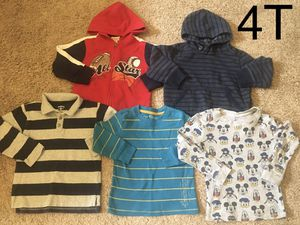 Boy clothes/long sleeve shirts size 4t (still available) 5 items for Sale in Edgewood, WA