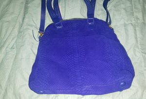NWT Cashhimi Lafayette tote Midnight Electric Blue Leather Purse Hand Bag $468 Python snake print for Sale in Fullerton, CA