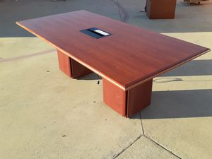 Excellent cherry 10ft conference table with outlets for Sale in Santa Ana, CA