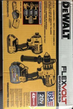 Dewalt flexvolt combo 1/2 brushless hammer drill and 1/4 brushless impact driver for Sale in Lemont, IL