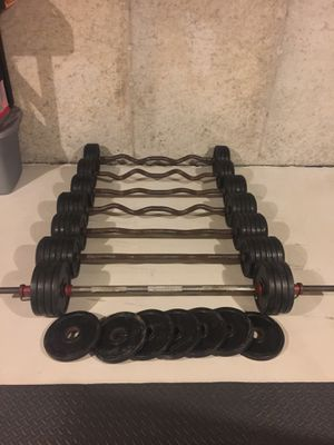 Ivanoko Fixed curl bar weights bumper plated for Sale in Stafford Township, NJ