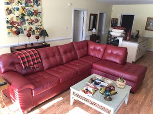 Red Leather Sectional Couch for Sale in Forest, VA