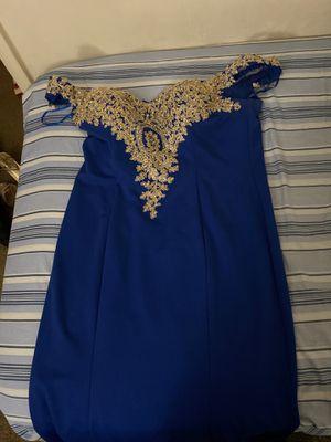 Off shoulder Royal blue and gold evening gown / Gold wedges for Sale in Norfolk, VA