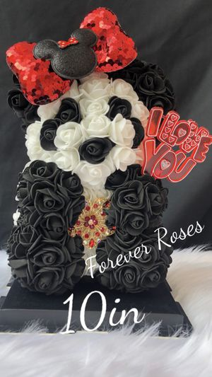 Beautiful Rose Bears with Minnie Mouse Bow. 10in Tall. Same Day Pick Up Is Available. Roses Are Made Out Of Foam. for Sale in South Gate, CA