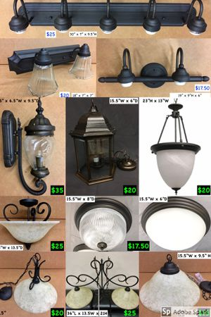 New light fixtures, chandelier, bathroom vanity, foyer, kitchen, hanging, pendant, ceiling, flush mount, outdoor, fans, remodel, house update, contra for Sale in Farmers Branch, TX